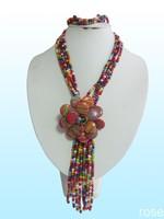 FPPI399  Rose the latest design semi-precious stone necklace  bracelet set