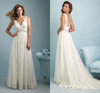 Spaghetti Strap Long Beach V-neck Sleeveless Latest Designs Bride Gown Wedding Dresses Applique Lace Crystals Beaded Court Train