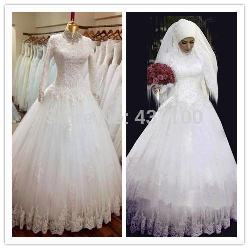 ... de nouveaux Appliques dentelle blanche robe de mariée de hijab