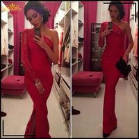 2015 Red Maxi Lace Celebrity Dresses Women Vestido De Renda Autumn Winter One Shoulder Vestidos De Festa HollowOut Gowns 920610