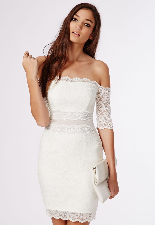 Lace off the shoulder cocktail dress