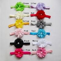 Wholesale 10pcs/lot Shabby Chiffon Flower Hair band Pearl Rhinestone Buttons Center Baby Floral Headband Free Shipping