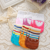 1500pair/lot wholesale 7 candy color non skid casual cotton bowknot children unisex baby floor socks for 0-2 years