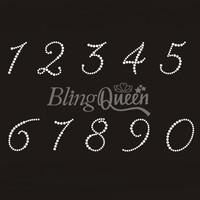 50PCS/LOT Custom Bling Rhinestone Hot Fix Iron On Transfers Number Design