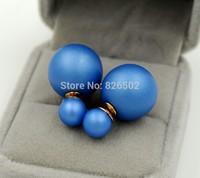 Fashion Jewelry Earrings Hot Selling 2014 Round Dark blue color Double Pearl Stud Earrings Big Pearl earrings for Women Gift
