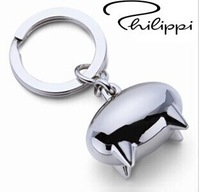 2014 New Creative Gifts German Mini Cute Pig Keychains Alloy Metal Emma Pig Key Chain Keyring Helm Key Ring