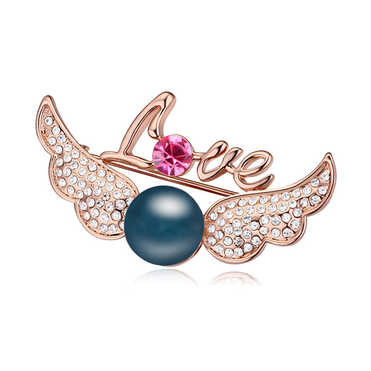 T111733 High quality pearl brooch Austria Cupid Wings blue rose gold over 15 mixed order free