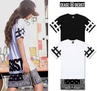 New Hot top side zipper long cease desist bandana men women t-shirt short sleeve tee shirt fashion trend dress 2015