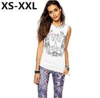 XS-XXL Spring And Summer Fashion Tops Of Women Sexy Big Split Pierced Mermaid Letters Printed Casual Tops