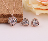 Limited Edition 18K Rose Gold Plated  Fashion Charming Heart Engagement Jewelry Set Free Shipping