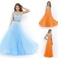 Light Blue Delicate Beaded 2 Two Pieces Evening Dress Long Backless Halter Chiffon Prom Dress Vestido Longo De Renda TD055