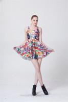 Sexy Mini Vestidos 2014 Summer New Women Evening Party Wear Skater Dress Casual Cartoon Printed Sleeveless Dresses S119-219