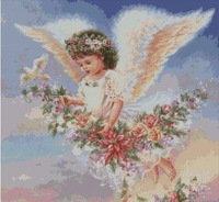 Free delivery Top Quality counted cross stitch kit flower angel with bird HAE-RW007