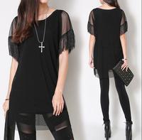 T Shirt Women 2014 Casual Short-sleeve O-neck Black Patchwork Mesh Shirt Slim Blusas Plus Size Clothing Camisas 276DB Femininas