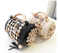 2014 new Korean tassel diamond clasp cylinder portable shoulder bag Messenger bag