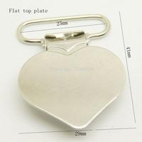 Hot selling 100pcs/lot,flat heart shaped clip in nickel color wholesale Suspender Clip Suspender Clips Manufacturer