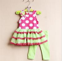 Free shipping children clothing baby girls rare editions sleeveless tutu dress Nine tenths leggings 2 piece suits sets