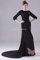 Black long trailing prom dress.