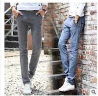 Men's cotton linen slacks flax male money straight canister leisure pants male cotton trousers loose elastic waist trousers