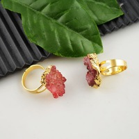 Finding Druzy Rings - Red Crystal Geode Drusy Ring Jewelry making 8pcs/lot