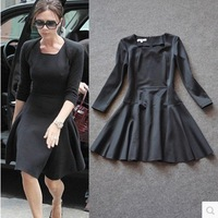 2014 Fashion Star Style Victoria Beckham Dress Slim Elegant Square Collar Long Sleeve Black Dresses for Women