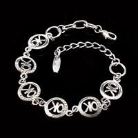2014 Popular Style Lucky OK Letter  Zinc Alloy Rhinestone Bracelet For Women Big discount  Women'sbracelet
