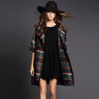 2015 new spring wool elegant blends outwear trench coat for women long paid ladies office coat women's long wool winter coats