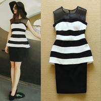 Sexy Gauze Patchwork Black White Stripe Printing Package Hip Vest Dress 2015 Spring Summer Basic Dress S1218