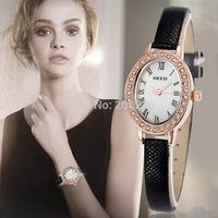 2015 Women Dress Watches Ladies Rhinestone Quartz Clock Leather Strap Watch Fashion Female Wristwatches relojes mujer