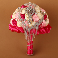 Beautiful Pink+Ivory+Hot Pink Rose Flowers with Diamante Rhinstone Wedding Flower Bouquet Posy