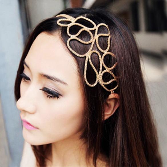 Women's Hair Band Elegant Metallic Gold Braid Braided Headband Elastic Stretch Hollow Hair Band Hair Chain E#CH(China (Mainland))