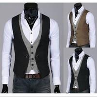 2014 New Mens Male Fashion Tops Slim Skinny Dress Vests Casual Waistcoat Sleeveless Business Jacket Size L-XXL Hot Sale