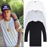 Simple style solid men t shirts Justin star's similar model long sleeve t shirt plus size tees XXXL black white grey