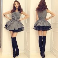 Korean Preppy Women Sleeveless Ball Gown Mini Dress With Belt College Novelty Girls Party Vestidos Feminino Curtos Festa