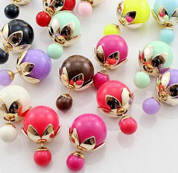 Ne434 новый 2015 горячая распродажа перлы двойника серьги стержня для женщин бесплатная доставка