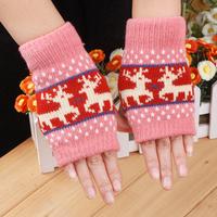 Lovely Christmas elk winter warm gloves The female rabbit wool half fingerless gloves Free shipping