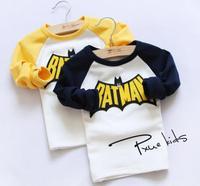 New 2015 baby girls cartoon long-sleeved shirt children kids fashion Batman T-shirt A139 top quality