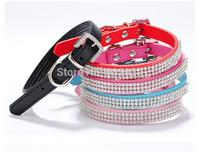 Pet collar 12pc Adjustable Pet Dog Cat collar Pet Products new style punk PU leather rhinestones collar C381-385