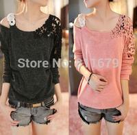 Blusas Femininas Womens Tops Fashion 2015 Long Sleeve Plus Size Renda Crochet Pullovers Blouses T-Shirts