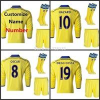 Top Thailand Chelsea away long sleeve full set Football Jersey kits with the match sock HAZARD DROGBA DIEGO COSTA OSCAR FABREGAS