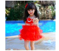 2015 Retail free shipping Free shipping new Girls Kids Summer lace mesh children red sling flower dress H-Dec17