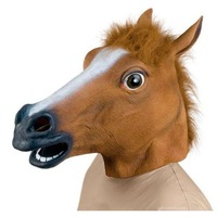 High quality Horse Head Mask Creepy Halloween Costume Theater Prop Latex Rubber Brown For 2015 top