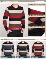new fashion men's autumn / winter cotton thick striped o-neck long sleeve t-shirt round collar tees plus size 009