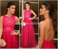 Sheer Back Lace A-Line Long Evening Gown Women Formal Dresses Prom Dress 2015 New Vestido de Festa