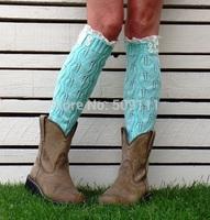 HOT Crochet Lace Trim Knit Leg Warmers Womens Boot Socks Knee High Leg Warmers Winter Knitted Leg Warmers 5 pairs JT007