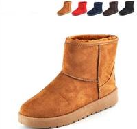 5 colors women's winter low heel suede warm snow boots waterproof  warm shoes slip-on plush inside size 35-40 #811