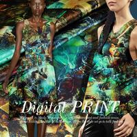 Abstract Castle Digital Print Stretch Silk(93%) Satin Fabric  108CM*100CM   19Mommie