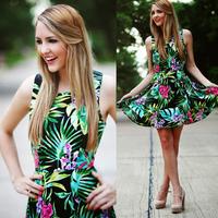 Hot Sale 2015 New Arrival Plus Size Flower Print Dress Tropical Vestidos