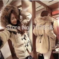 2014 New Brand Down & Parkas European Fashion Raccoon Fur collar Women Winter thick Hooded Jacket Women Warm Coat Free shipping