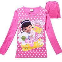 2015 New Doc Mcstuffins spring Tee T-shirt girls long sleeve cartoon shirts baby girl shirt cotton tops kids clothes WD2106